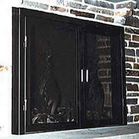Projected fireplace door with screen
