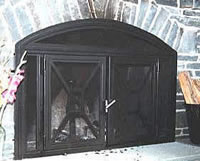 Arched fireplace with side lites
