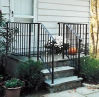 Matching step & entrance steel railing